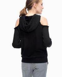 Splendid Black Soft Cotton Cold Shoulder Sweatshirt