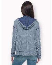 Splendid Gray Bias Stripe Active Reversible Hoodie