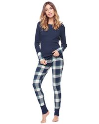 Splendid   Blue Two-Piece Plaid Top & Pants Pajama Set   Lyst