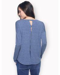 Splendid Blue Heathered Long Sleeve Shirttail Top