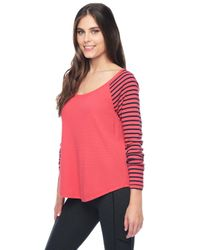 Splendid - Pink Thermal Venice Stripe Raglan - Lyst