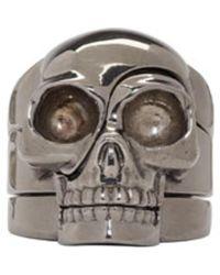 Alexander McQueen - Metallic Silver Puzzle Skull Ring for Men - Lyst