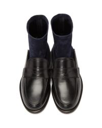 Loewe - Black And Navy Sock Boots - Lyst