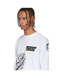 メンズ SSS World Corp ホワイト スポンサー ロング スリーブ T シャツ White