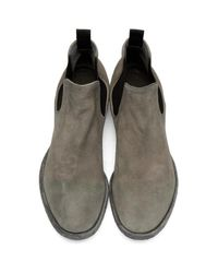 Officine Creative Gray Grey Suede Princeton 47 Chelsea Boots for men