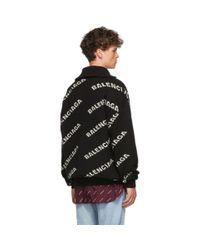 Col roule a glissiere noir et blanc All Over Logo Balenciaga pour homme en coloris Black