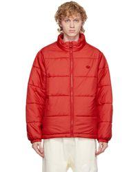 メンズ Adidas Originals レッド Padded Stand Collar Puffer ジャケット Red