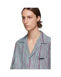 Prada Blue Green Striped Shirt for men