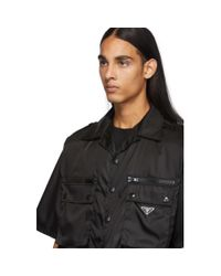 メンズ Prada ブラック ナイロン ギャバジン ポケット シャツ Black