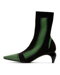 M I S B H V ブラック And グリーン ニット アンクル ブーツ Black