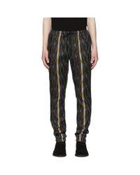 Saint Laurent Black Multicolor Striped Ikat Trousers for men