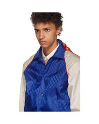 Gucci Blue And Beige Jacquard GG Jacket for men