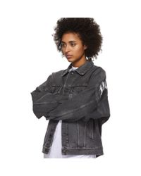 Palm Angels ブラック デニム ロゴ オーバー ジャケット Black
