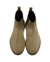 Saint Laurent Brown Tan Suede Crepe Sole Oran Chelsea Boots for men
