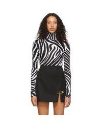 Versace ブラック And ホワイト ゼブラ ボディスーツ Black
