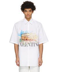 メンズ Valentino ホワイト ショート スリーブ シャツ White