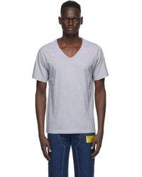 メンズ Maison Margiela グレー コットン V ネック T シャツ Gray