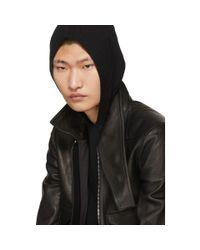 Rick Owens Black Leather Glitter Jacket for men