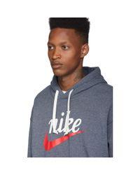 メンズ Nike ネイビー ヘリテージ フーディ Blue