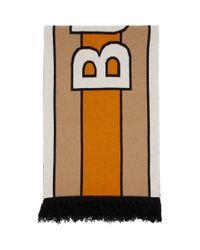 Foulard en cachemire a logo beige Burberry pour homme en coloris Natural