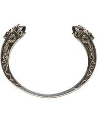 Alexander McQueen - Metallic Silver Twin Skull & Snake Bracelet - Lyst