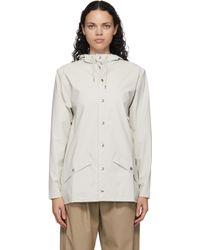 Rains オフホワイト ミッド Button-down Rain コート White