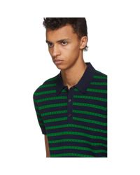 Burberry Green And Navy Striped Polo for men