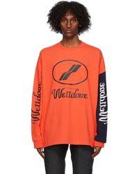 メンズ we11done オレンジ リメイク ロゴ T シャツ Orange