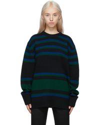 Acne ブラック & ブルー ストライプ セーター Blue