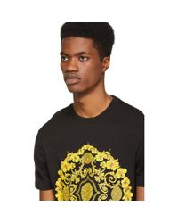 Versace Black Hibiscus Slim Fit T-shirt for men