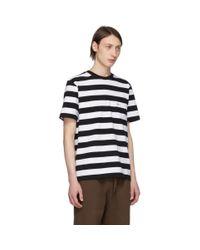 メンズ Noah NYC ブラック And ホワイト ストライプ ポケット T シャツ Black