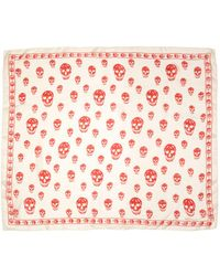 Alexander McQueen | White Ivory & Red Skull Scarf | Lyst