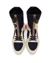 メンズ Fendi Mania コレクション ホワイト And ネイビー ソックス スニーカー Blue
