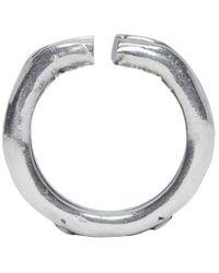 Goti Metallic Silver Cut Ring for men