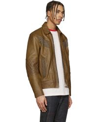 DSquared² - Brown Camel Studded Leather Jacket for Men - Lyst