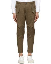 DSquared² - Brown Khaki Cotton Cargo Trousers for Men - Lyst