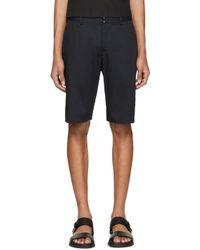 Maison Margiela - Blue Navy Cotton & Linen Shorts for Men - Lyst