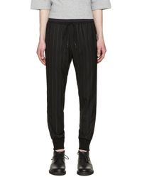 Juun.J - Black Pinstriped Lounge Pants for Men - Lyst