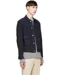 Maison Kitsuné Blue Navy Patched Harry Jacket for men