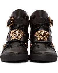 Versace Black Straps High-top Sneakers for men