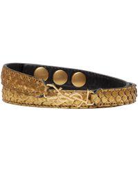 Saint Laurent | Metallic Gold Python Double Wrap Monogram Bracelet | Lyst