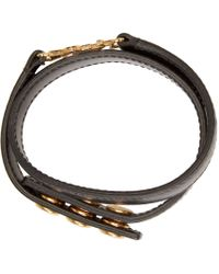 Saint Laurent - Black Leather Monogram Bracelet - Lyst