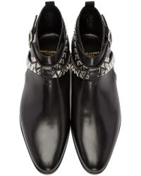 Saint Laurent - Black Studded London Boots for Men - Lyst