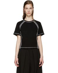 J.W.Anderson - White Black Contrast Seam T-shirt - Lyst