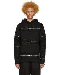 Hood By Air - Black Detachable Zipper & Grommet Hoodie for Men - Lyst