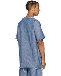 Marques'Almeida Blue Denim Frayed T-shirt for men