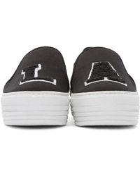Joshua Sanders Black LA Appliqué Slip-On Sneakers