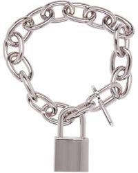 DSquared² - Metallic Silver Lock Chain Bracelet for Men - Lyst