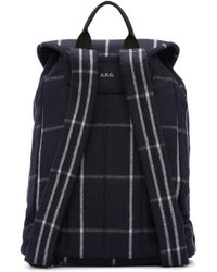 A.P.C. Blue Navy Wool Plaid Snap-buckle Backpack for men