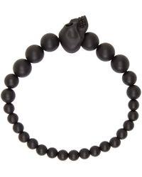 Alexander McQueen Black Beaded Skull Bracelet for men